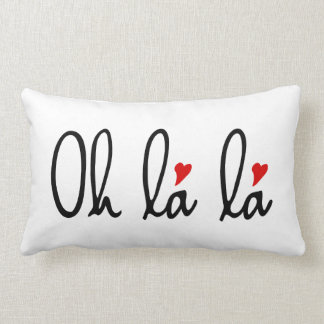 Oh la la, French word art with red hearts Lumbar Pillow