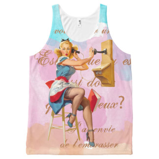oh La La, Telephone Woman All-Over Printed Tank All-Over Print Tank Top