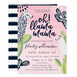Oh Llama Mama Baby Girl Baby Shower Invitation