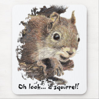 Oh look a squirrel Attention Humor Mousepads