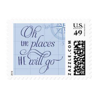 Oh los lugares él irá fiesta de bienvenida al bebé timbre postal