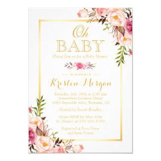 """Oh marco floral elegante agraciado del oro de la invitación 5"""" x 7"""""""
