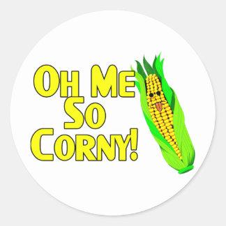 Oh Me So Corny Classic Round Sticker