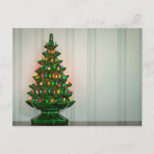 oh mid century modern christmas tree holiday postcard