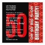 Oh modelo negro y rojo del 50.o cumpleaños tan comunicado