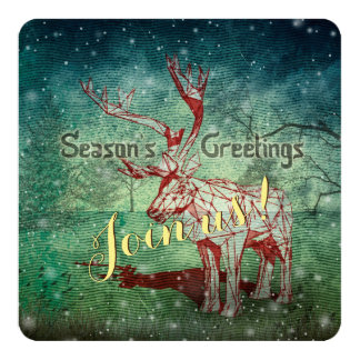 """Oh My Deer~ Merry Christmas!   Greeting Cards 5.25"""" Square Invitation Card"""