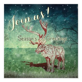 """Oh My Deer~ Merry Christmas!   Party Invitations 5.25"""" Square Invitation Card"""