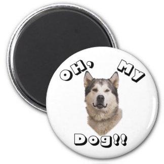 Oh my Dog Alaskan Malamute 2 Inch Round Magnet