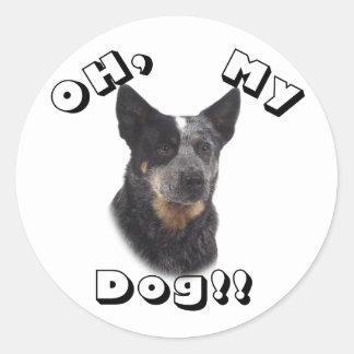 Oh, my Dog!! Australian Cattle Dog - Blue Classic Round Sticker