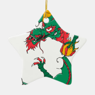 Oh My Dragon! Double-Sided Star Ceramic Christmas Ornament