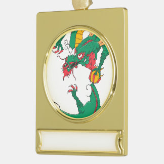 Oh My Dragon! Gold Plated Banner Ornament