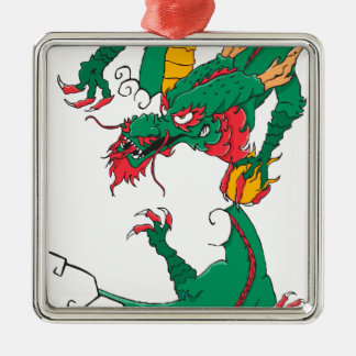 Oh My Dragon! Square Metal Christmas Ornament