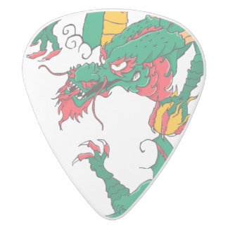 Oh My Dragon! White Delrin Guitar Pick