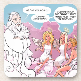 Oh My God (OMG) Angels Text Funny Coaster