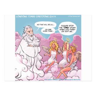 Oh My God (OMG) Angels Text Funny Postcard