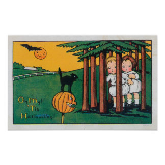 Oh My Tis Halloween Black Cat Scaring Kids Poster