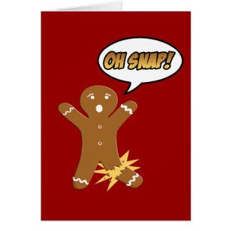 Oh navidad divertido del hombre de pan de jengibre felicitaciones