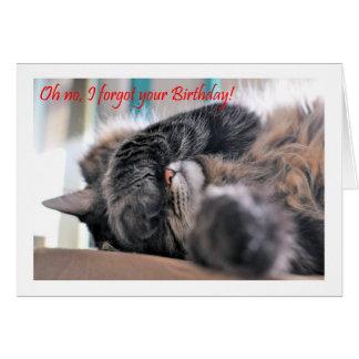 ¡Oh ningún, olvidé su cumpleaños! Feliz del gato Tarjeta De Felicitación