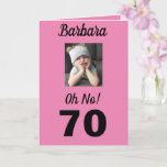"Oh No! 70th Birthday Funny Grumpy Girl Celebrate Card<br><div class=""desc"">Have fun on a milestone birthday for age 70 with an ""Oh No!"" card. She will smile at the pink,  white and black colors along with the encouraging message to ""Celebrate!"". A modern and memorable design captures the endearing sentiment in the funny grumpy girl.</div>"