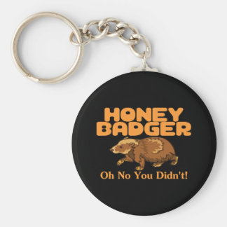 Oh No Honey Badger Basic Round Button Keychain