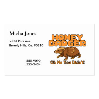 Oh No Honey Badger Business Card Templates