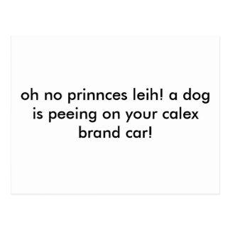 oh no prinnces leih! a dog is peeing on your ca... postcard