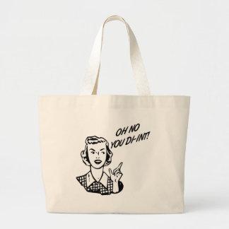 OH NO YOU DI-INT! Retro Housewife B&W Jumbo Tote Bag