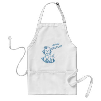 OH NO YOU DI-INT! Retro Housewife Blue Adult Apron