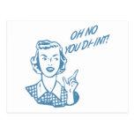 OH NO YOU DI-INT! Retro Housewife Blue Postcard