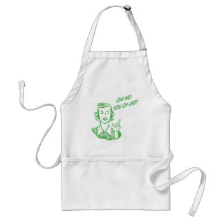 OH NO YOU DI-INT! Retro Housewife Green Adult Apron