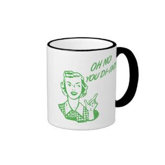 OH NO YOU DI-INT! Retro Housewife Green Ringer Coffee Mug