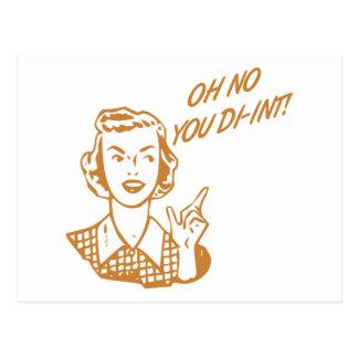 OH NO YOU DI-INT! Retro Housewife Orange Postcard