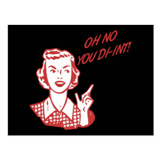 OH NO YOU DI-INT! Retro Housewife Red Postcard