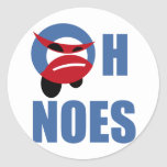 oh noes t-shirts classic round sticker