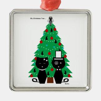 Oh, ornamento del árbol de navidad adorno navideño cuadrado de metal