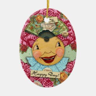 Oh ornamento feliz de la porcelana del día adorno navideño ovalado de cerámica