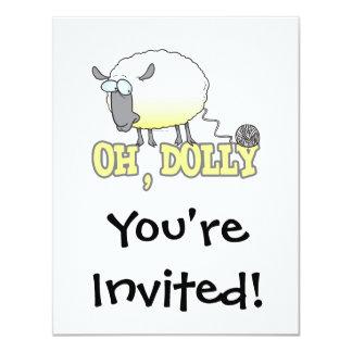 """oh ovejas reproducidas divertidas del hilado del invitación 4.25"""" x 5.5"""""""