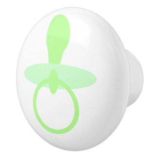 Oh pacificador verde del bebé pomo de cerámica