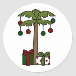 Oh palmera del navidad etiqueta redonda