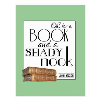 Oh para un libro y un escondrijo sombrío tarjeta postal