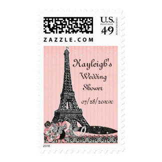 Oh Paris Personalized Wedding Shower Postage Stamp