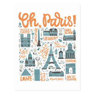 Oh, Paris! | Town Typography Postcard