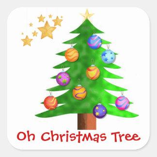Oh pegatinas del árbol de navidad pegatina cuadrada