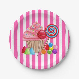 Oh placas de papel dulces de Candyland Plato De Papel De 7 Pulgadas