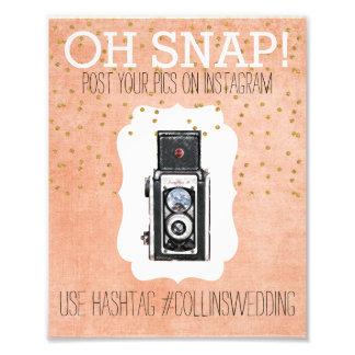 Oh poster coralino rápido de Hashtag del oro de Fotografías