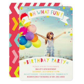 """Oh qué fiesta de cumpleaños del chica del confeti invitación 5"""" x 7"""""""