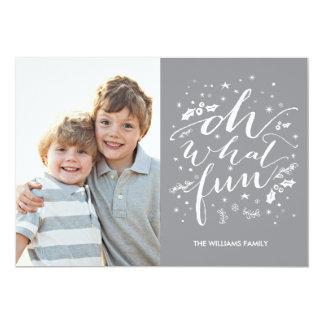 """Oh qué gris de la tarjeta de la foto del día de invitación 5"""" x 7"""""""
