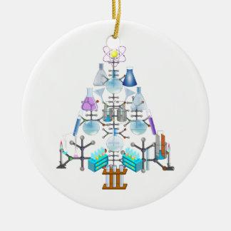 Oh química, oh árbol del químico adorno navideño redondo de cerámica
