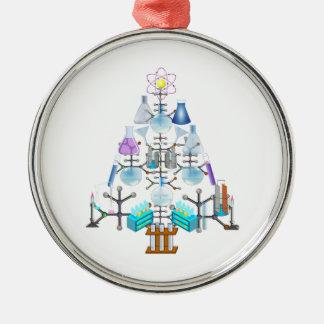 Oh química, oh árbol del químico adorno navideño redondo de metal