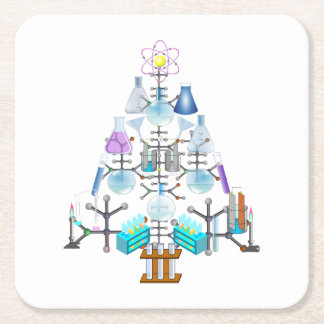 Oh química, oh árbol del químico posavasos desechable cuadrado